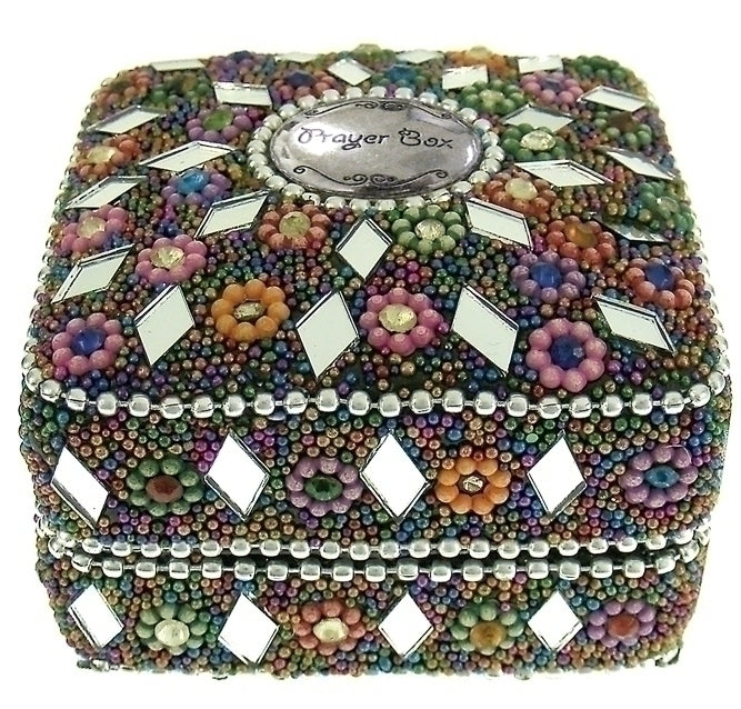 PRAYER BOX SQUARE/MULTI COLOR BEADS - 20377 - Catholic Book & Gift Store