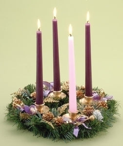 "14""ADVENT WREATH W/PURPLE RIBBON - 21075 - Catholic Book & Gift Store"