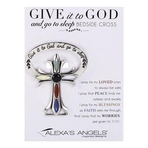 "2.5""H GIVE IT TO GOD BEDSIDE CROSS"