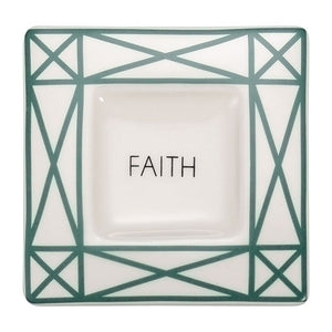 "4"" GREEN INTENTION TRAY-""FAITH"" -GIFT BOXED"