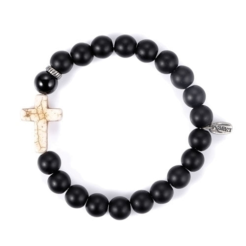 MEN'S CROSS BRACELET/BLACK ONYX - 22647 - Catholic Book & Gift Store
