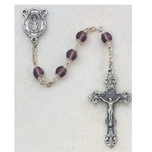 6MM AMETHYST CAPPED ROSARY - 264SF - Catholic Book & Gift Store