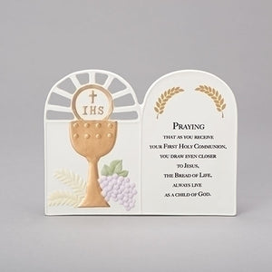 "6.75""H CHALICE WALL PLAQUE W/FIRST COMMUNION PRAYER"