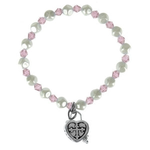 LT PINK/PEARL CHILD'S PRAYERBOX BRACELET - 29964 - Catholic Book & Gift Store