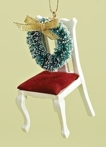 "3.5"" CHAIR W/WREATH MEMORIAL ORNAMENT"