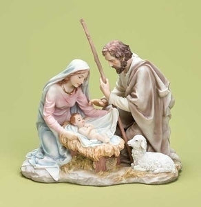 "7.75"" PASTEL HOLY FAMILY TABLETOP FIGURE - 32376"