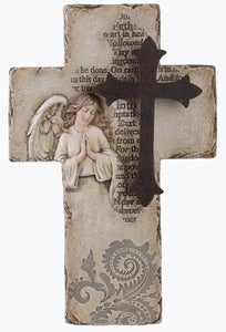 "10.25"" ANGEL WALL CROSS W/OUR FATHER - 33879 - Catholic Book & Gift Store"