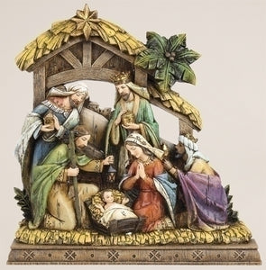 "9.5"" NATIVITY/WOOD CARVED LOOK - 34365"