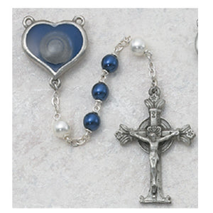 7MM PEWTER BLUE/WHITE PEARL ROSARY - 365DF