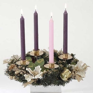 "12"" ADVENT WREATH WITH IVORY POINSETTIA - 38939 - Catholic Book & Gift Store"