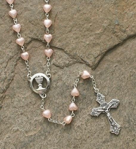 COMMUNION/PINK HEART PEARL ROSARY - 40127 - Catholic Book & Gift Store