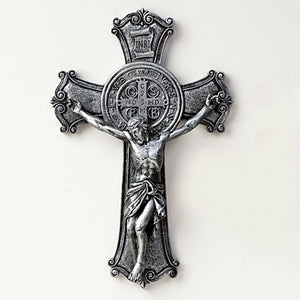 ANTIQUE SILVER ST. BENEDICT CRUCIFIX - 40737 - Catholic Book & Gift Store