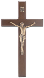 "10"" WALNUT CRUCIFIX W/MUSEUM GOLD CORPUS - 411M-10W23 - Catholic Book & Gift Store"