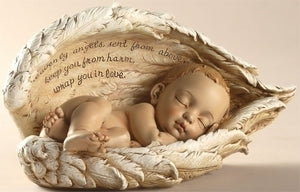 "4.25"" SLEEPING BABY IN ANGEL WINGS - 42175 - Catholic Book & Gift Store"