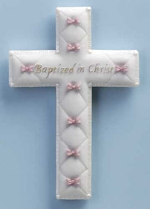 "6.5"" BAPTISM CROSS BOWS/GIRL - 42829 - Catholic Book & Gift Store"