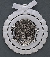 WHITE GUARDIAN ANGEL CRIB MEDAL - 43086 - Catholic Book & Gift Store
