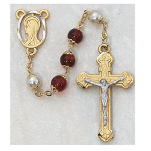 8MM RED/PEARL GOLD ROSARY - 452HF