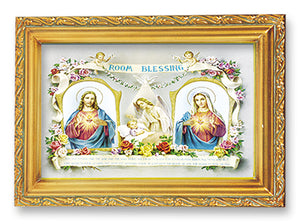 "4.5""X6.5"" BABY ROOM BLESSING W/TWO HEARTS/FRAMED - 461.390 - Catholic Book & Gift Store"