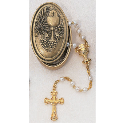 GOLD PEARL ROSARY W/ HOLDER - 462CBH - Catholic Book & Gift Store