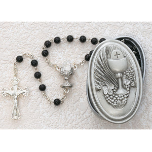 5MM BLACK ROSARY W/COMMUNION BOX - 463CBD - Catholic Book & Gift Store