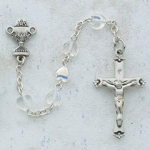 6X6 CRY HEART COMMUNION ROSARY - 465RW