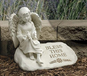 "9.5"" ANGEL ON STONE FIGURE - 48849"