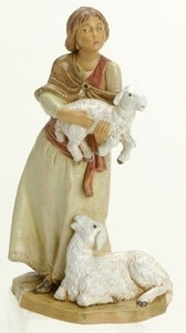 "5"" JOAN/WOMAN HIDING SHEEP FIGURE - 54027 - Catholic Book & Gift Store"