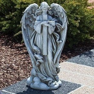"25.5""H ANGEL WITH CROSS STATUE"