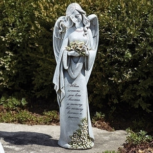 "22.75""H MEMORIAL ANGEL W/ FLOWER"
