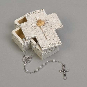 "3""H BAPTISM KEEPSAKE BOX/STONE LOOK"