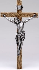 "13.75"" ANTIQUE SILVER CRUCIFIX - 62152 - Catholic Book & Gift Store"