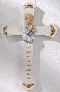 "8"" BOY PRAYER CROSS - 62158"