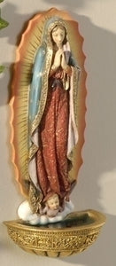 "7"" OUR LADY GUADALUPE HOLY WATER FONT - 62821 - Catholic Book & Gift Store"