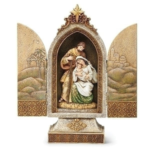 "12.25""H HOLY FAMILY TRIPTYCH GOLD ACCENTS/SCENES ON DOORS"