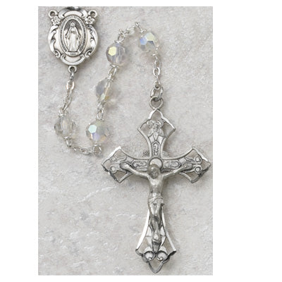 STERLING 6MM TINCUT CRYSTAL ROSARY - 6ABL-CRF - Catholic Book & Gift Store