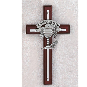 "7"" CHERRY STAINED CROSS/FIRST HOLY COMMUNION - 75-11 - Catholic Book & Gift Store"