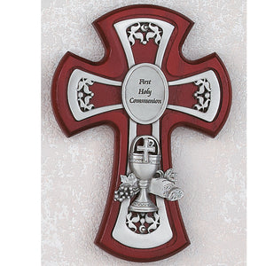 "6"" CHERRY CROSS WITH PEWTER CHALICE CROSS - 75-30 - Catholic Book & Gift Store"