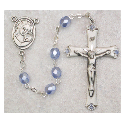 6MM BLUE PEARL ROSARY - 759DF - Catholic Book & Gift Store