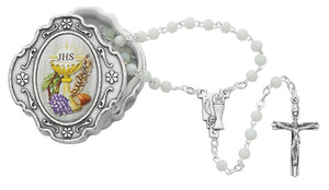 SILVER OXIDIZED COMMUNION ROSARY BOX - 760-132 - Catholic Book & Gift Store