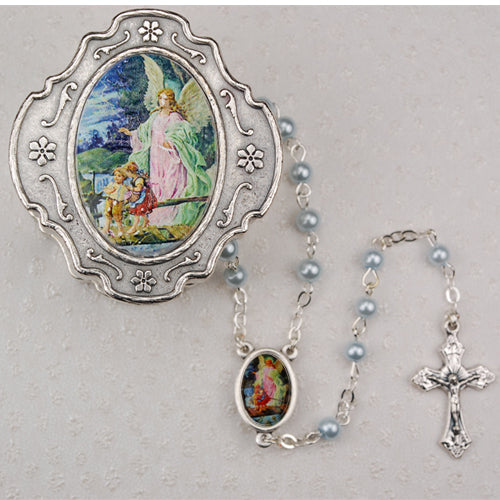 PEWTER GUARDIAN ANGEL ROSARY BOX WITH BLUE ROSARY - 760-90 - Catholic Book & Gift Store