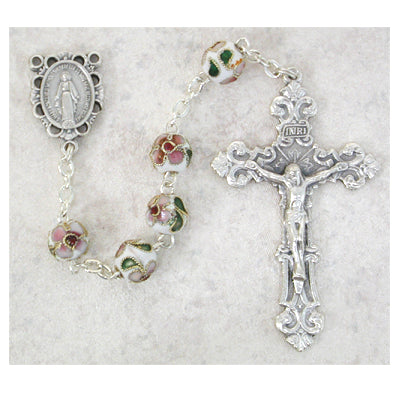 8MM WHITE CLOISONNE ROSARY - 764SF