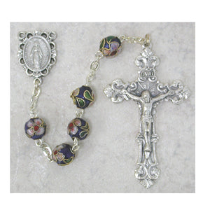 8MM DARK BLUE CLOISONNE ROSARY - 766SF