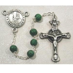 PEWTER/6MM SHAMROCK BEAD ST PATRICK ROSARY - 786DF - Catholic Book & Gift Store