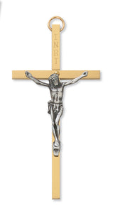 "4"" BRASS TUTONE CRUCIFIX - 79-11247 - Catholic Book & Gift Store"
