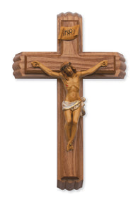 "12"" WALNUT SICK CALL CRUCIFIX WITH ITALIAN CORPUS - 79-42603 - Catholic Book & Gift Store"