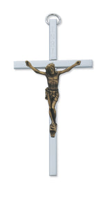 "4"" ALUMINUM CRUCIFIX WITH GOLD CORPUS - 80-129 - Catholic Book & Gift Store"
