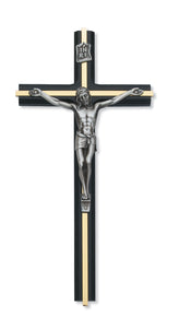 "10"" BLACK BEVELED CRUCIFIX WITH BRASS INLAY - 80-132 - Catholic Book & Gift Store"