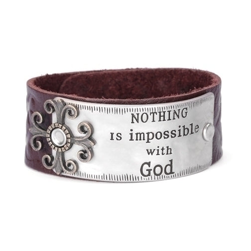 LEATHER BRACELET/NOTHING IS IMPOSSIBLE WITH GOD - 845283212517 - Catholic Book & Gift Store