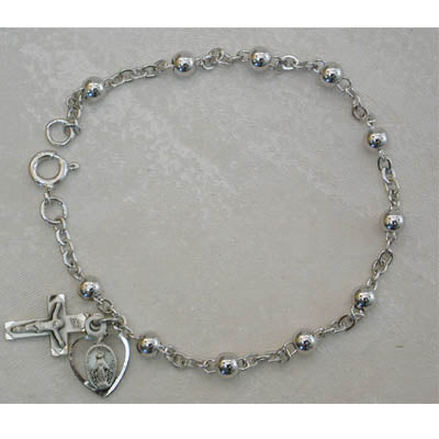 ALL STERLING 4MM ROSARY BRACELET - 913L