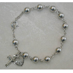 "7.5"" STERLING ROSARY BRACELET - 914L - Catholic Book & Gift Store"